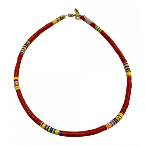 Collier Heishi Fin Rouge