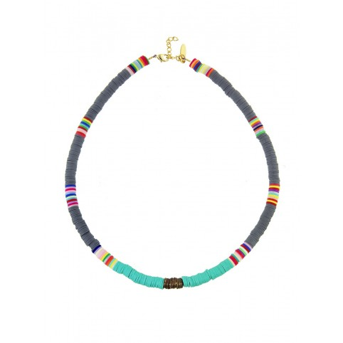 Collier Heishi Large Turquoise/Gris