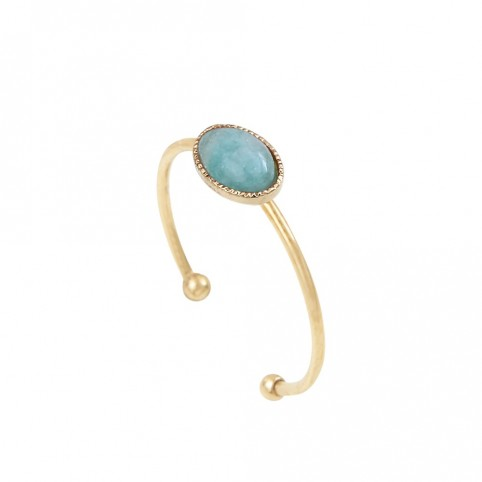 Bague Cab simple Amazonite