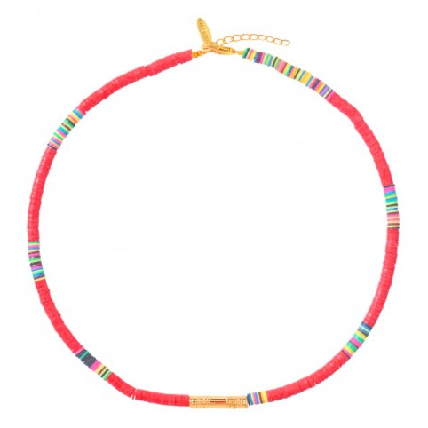 Collier Heishi Tube Rouge