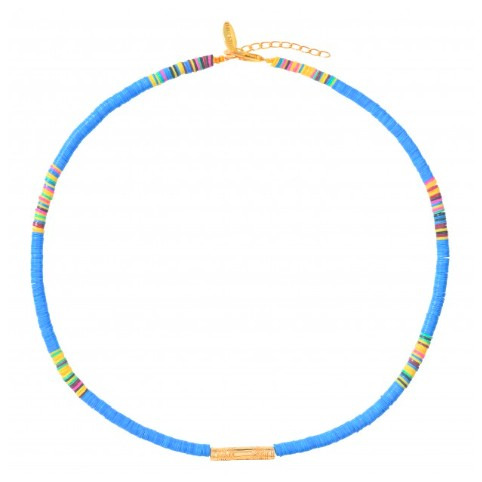 Collier Heishi Tube Bleu