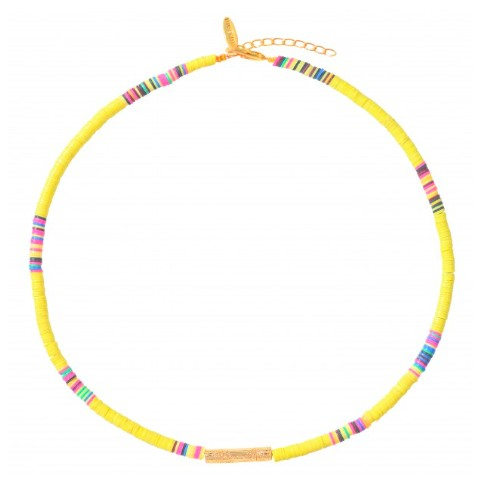 Collier Heishi Tube Jaune