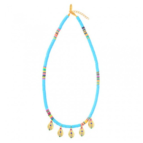 Collier Heishi 5 Pampilles Turquoise